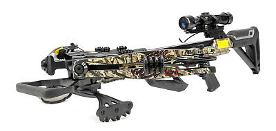 Bruin Ambush 370 Crossbow Package w Scope Bolts Quiver and Cocking Rope Camo