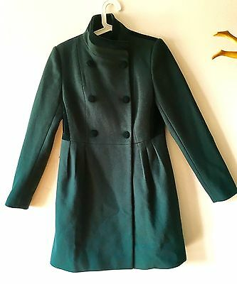 Rare Badgley Mischka Forest Green 100 Wool-Velvet Dress Coat SMKate Middleton