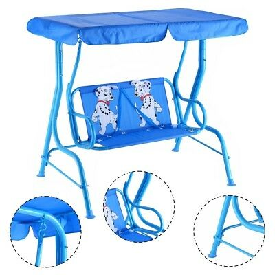 Outdoor Kids Swing Patio Swing Porch Lounge Chair Seats 2 Person w Top Canopy