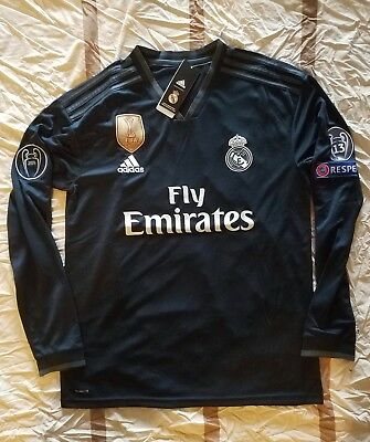 Real Madrid 201819 Away Long Sleeve Jersey Black Champions League