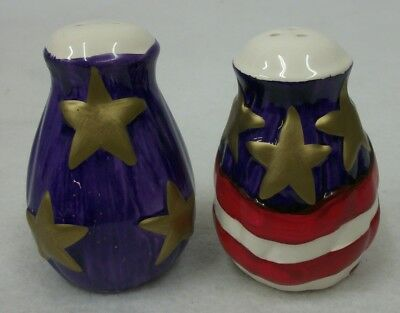 Patriotic 4th of July USA Flag - Stars Salt and Pepper Shakers EUC