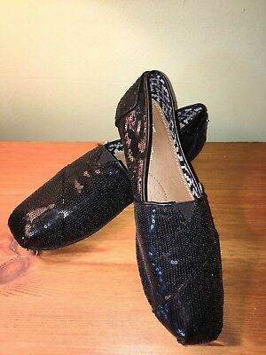 TOMS Womens Black Sequin Flat Shoes Size 10 NWOB