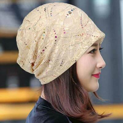 Sleep Chemo Cap for Women Cotton Beanie Lace Turban Soft Slouchy Hat Cancer Hats