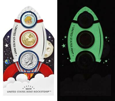 US MINT 2019 GLOW IN THE DARK KIDS ROCKETSHIP COIN SET ☆In hand ready to ship☆