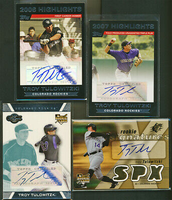 TROY TULOWITZKI 2007 Topps Co-signers SPx 4 Card Auto RC Investment Lot Yankees