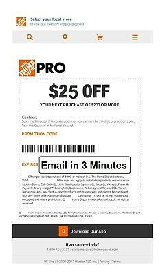 ONE 1X Home Depot 25 off 200Coupon In-Store Only-Very-FAST-3-M-I-N-s