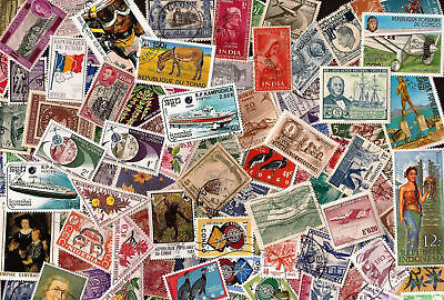 Lot A 100 Different Worldwide Stamp Collection - About 50 Commemoratives