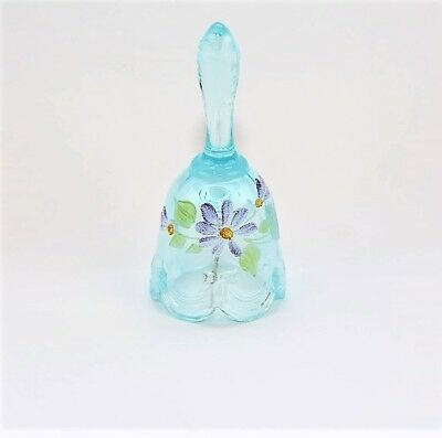 Fenton 4 14 Bell Hand-Painted with Daisies - Turquoise