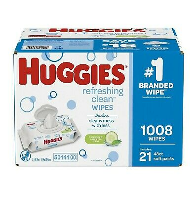 Huggies Refreshing Clean Baby Wipes Disposable Soft Pack 1008 ct-