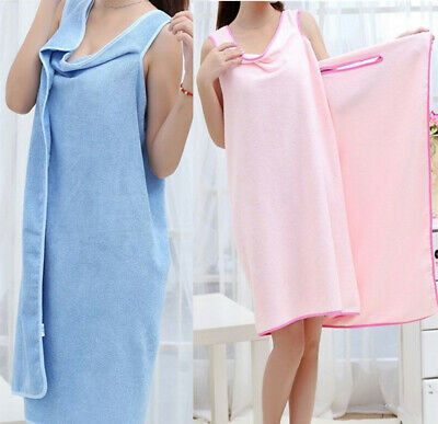 Womens Quick Dry Bath Towels Bathrobes Terry Large Cloth Robe Spa Wrap Dress US