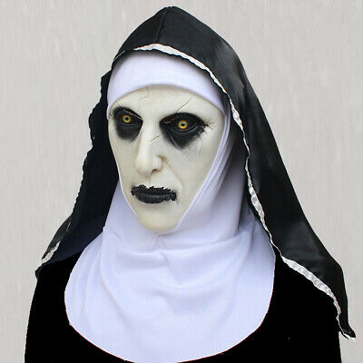 The Horror Scary Nun Latex Mask wHeadscarf Valak Cosplay for Halloween Costume