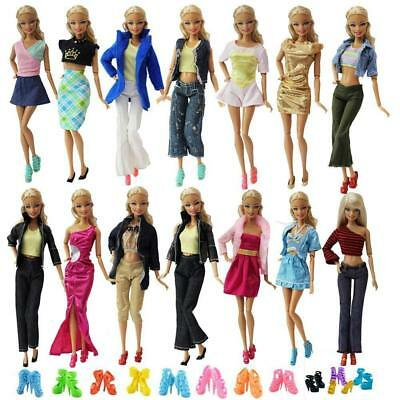 10 Clothes  Dresses - 10 Shoes for 11-5 inch Barbie Doll Shirt Blouse Trousers