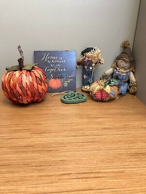 6 lot decorate THANKSGIVING fall autumn CUTE scarecrows patches pumpkin plaque