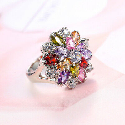 Womens Colorful Zircon Flower Ring Charm Jewelry Mothers Day Gift Size 6-10