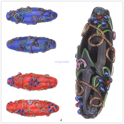 Handmade Flower Oval Lampwork Loose Spacer Glass Beads Jewelry Making Findings