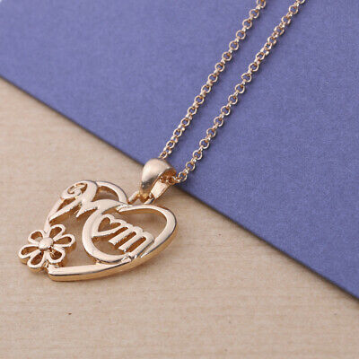 Mothers Day Gift 925 Sterling Silver MOM Heart Pendants Necklace with Gift Box