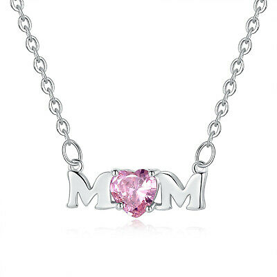 Mothers Day Gift Creative MOM Pendant Necklace Pink Zircon Glamour Jewelry