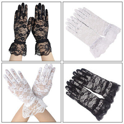 Lady Sunscreen Full Finger Flower Lace Wrist Gloves Party Bridal Wedding Mittens