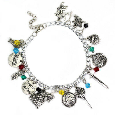 Game Of Thrones Inspired Charm Bracelet Jewellery Silver Plated Vintage Gift US