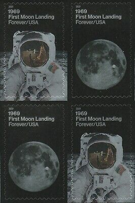 US 5399-5400 5400a 1969 First Moon Landing forever block 4 stamps MNH 2019
