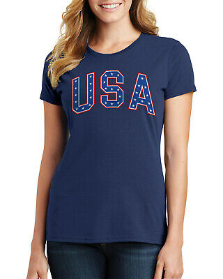 Retro Arched USA Stars Text Womens T-Shirt 4th of July