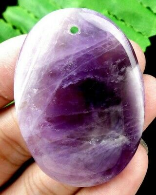 44x32x6mm Purple amethyst oval pendant bead E49353
