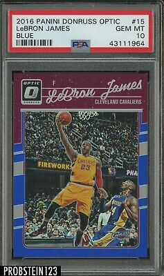 2016-17 Donruss Optic Blue 15 LeBron James Cleveland Cavaliers 3749 PSA 10
