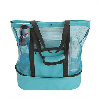 US Mesh Beach Tote Bag Zipper Top With Insulated Picnic Cooler Large Capacity