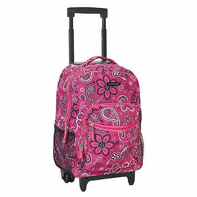 17 Inch Rolling Backpack with Wheels For Girls School Travel Bag Kids Bandana