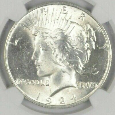 1 BU 1 1924 Peace Silver Dollar Dripping with luster Unc MS 90 Bulk - Save