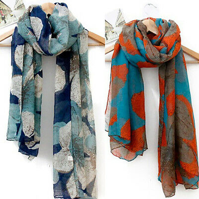 Women Ladies Long Cotton Voile Floral Print Scarf Neck Wrap Shawl Stole Scarves