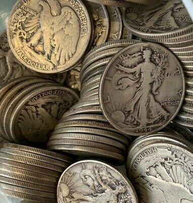 1 1940-1947 PDS Walking Liberty Half Dollar Random FACE 90 Silver Bulk Lot