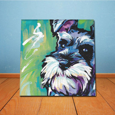 Animal Schnauzer Dog Wall Art Oil Painting Canvas Picture Poster Home Decor  US
