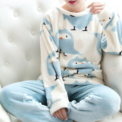 2Pc Women Pyjamas Set Flannel Coral Velvet Suit Cartoon Bird Sleepwear Nightwear