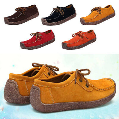 Womens Suede Boat Shoes Snail Casual Shoes Comfort Walking Flat Lace-up Sneaker