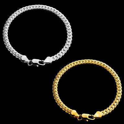 Fashion Mens Flat Curb Chain Simple Design Bracelet Jewelry Gift GoldSilver