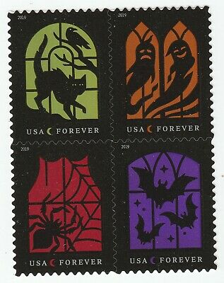 US 5420-5423 5423a Spooky Silhouettes forever block set 4 stamps MNH 2019 Oct