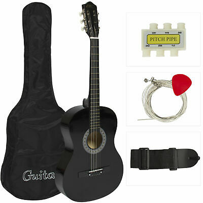Beginners Acoustic Guitar With Guitar Case Strap Tuner and Pick Black New
