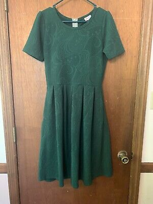 Lularoe Amelia Green Floral Textured Pleated Fit Flare Zipper Back Dress Size M