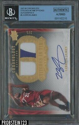 2007-08 UD Chronology Stitches In Time LeBron James Patch AUTO 25 BGS ALTERED