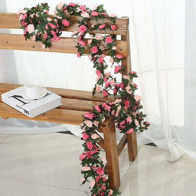 8-2ft Fake Artificial Silk Rose Flowers Vine Ivy Leaf Garland Floral Home Decor