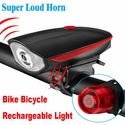 USB Rechargeable LED Bicycle Headlight Bike Head Light Front Lamp Cycling - Horn