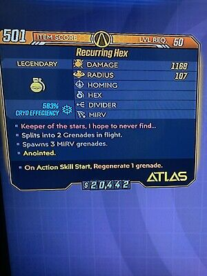 Xbox GODROLL Recurring Hex Grenade Anointed RARE FAST DELIVERY