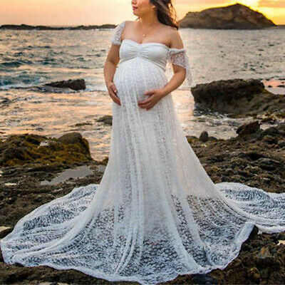 Women Pregnant Off Shoulder Long Maxi Lace Gown Photography Prop Maternity Dress
