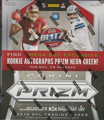 2019 Panini Prizm football Mega box 10 packs 1 neon green auto