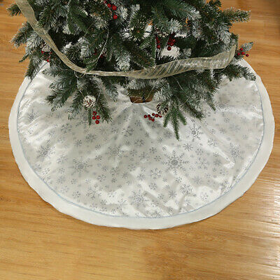 Round Cotton Lined Christmas Tree Skirt Base Floor Mat Cover Xmas Party Decor