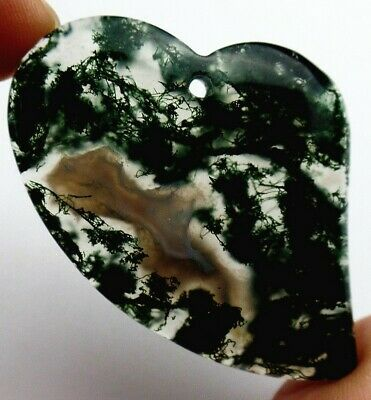 35x35x6mm Green moss agate heart pendant bead G5157