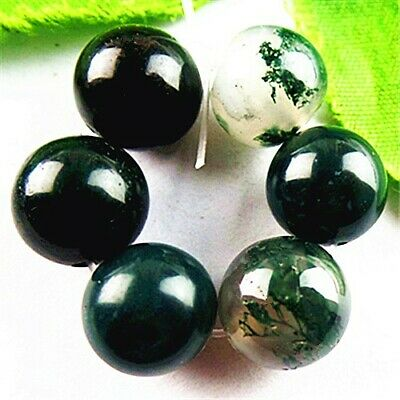 FF7009 6PCS 10mm Beautiful ball Moss Agate pendant bead