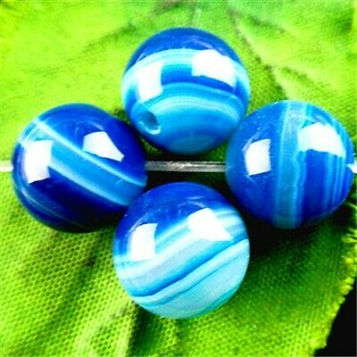 FF7016 4PCS 12mm Beautiful ball Stripes Agate pendant bead