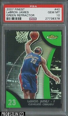 2007-08 Topps Finest Green Refractor 40 LeBron James Cavaliers 149 PSA 10